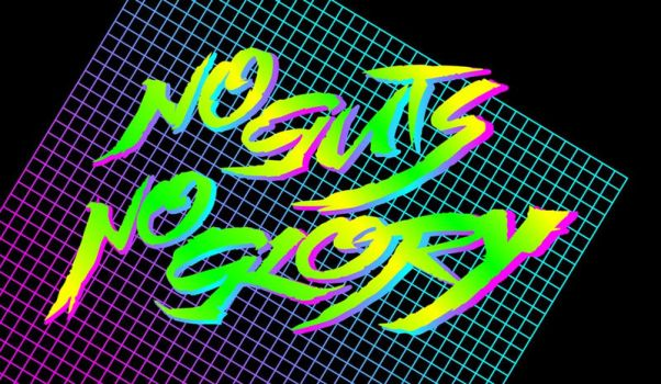 80s influenced laser neon logo - No Guts No Glory by Bulletrider80s
