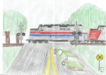 Amtrak Train and Former WIgwag Crossing by WillM3luvTrains