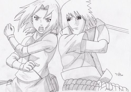 Sakura and Sasuke by LizcoresDrawing