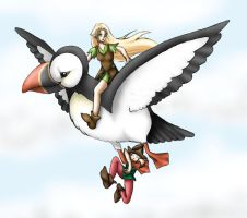 Elves Flying on a Puffin by madelief