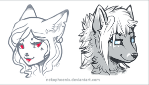 Yin and Yang Vixens - Sketch Trades by nekophoenix