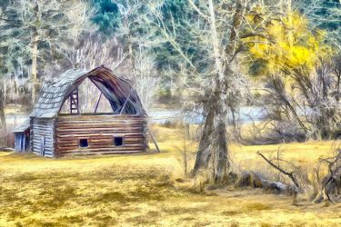 Barn by the Lake by oldhippieart