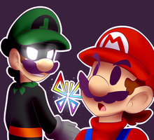 Mario Meets Mr.L by BaconBloodFire