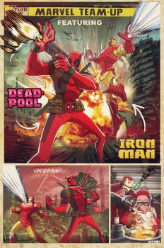 marvel team up: deadpool and iron man by m7781