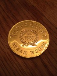 Peter Luger's Chocolate Coin by nosugarjustanger