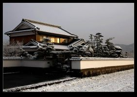 Japanese house in snow by stevezpj