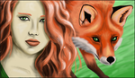 Desiree and fox by dragonslairnz