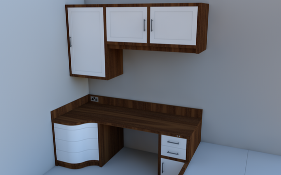 New Desk/Room WIP Render 2 by steveee