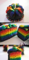 Clay Charm- Rainbow Cake by zigidity