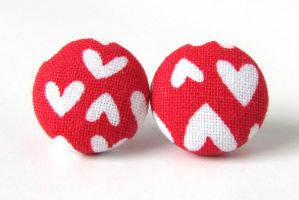 Red heart earrings by KooKooCraft