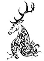 Kashmir Stag Awareness Tribal by FriendOwlDesign