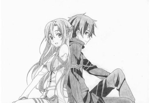 Asuna and Kirito by Azdaroth