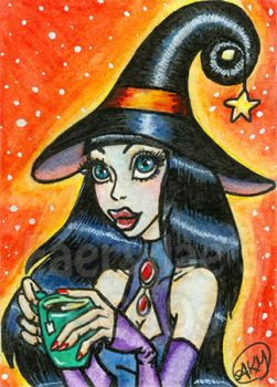 Julana - Halloween Witch ACEO by alyssakay