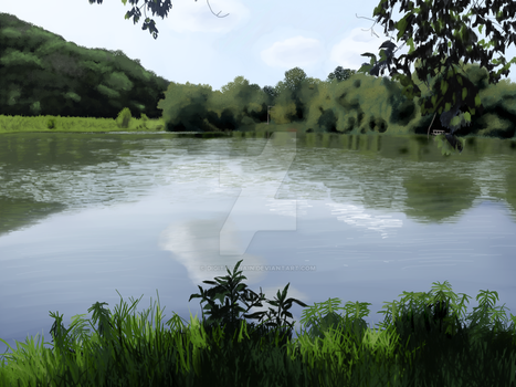 Lake Landscape Painting by digitalChain