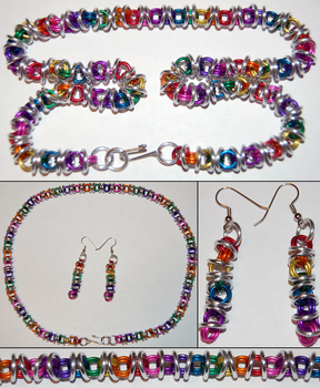 Rainbow and Silver Orbital Chainmaille Necklace by xShojirox