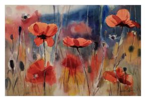 Poppies And Bees by katekos-art