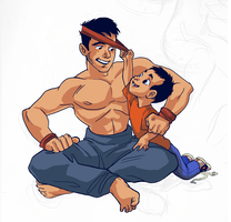 Boy and Father by lizzicusart