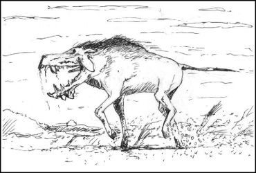 Inktober: Entelodont (extinct pig-like mammal) by philippeL