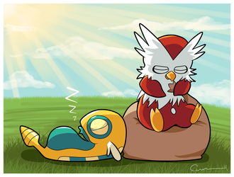 Dunsparce and Delibird by CraigWM