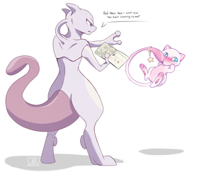 Mewtwo and Mew by PuppieChow