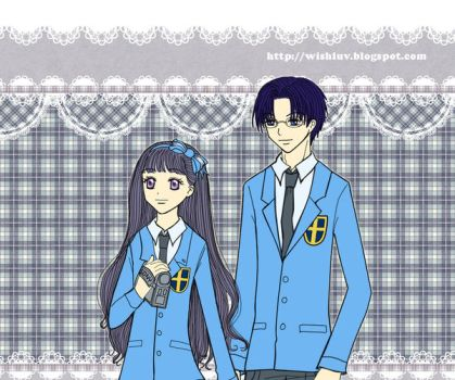 Tomoyo and Eriol in Seijou High School Uniforms by wishluv