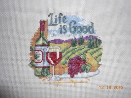 Life is Good Cross Stitch Close Up by FireWings26