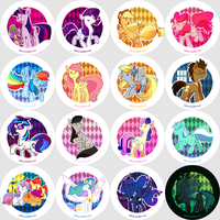 my little pony buttons set 1 by Nifty-senpai