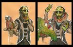 Drell with Hawkhead Parrot by caramitten