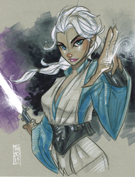 Jedi Elsa (Star Wars/Frozen Mash-Up) by Hodges-Art