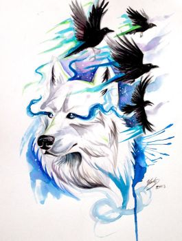 Wolf and Ravens Print- Win Original by Lucky978