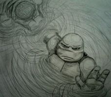 Raph in water sketch by carriehowarth