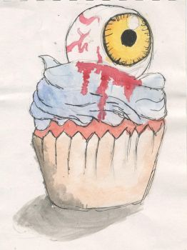 Eyeball Cupcake 24:6:16 (Watercolour and ink) by ObsidianFang115