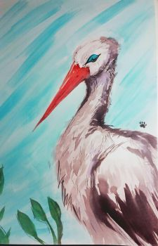 Watercolor stork by lallibear