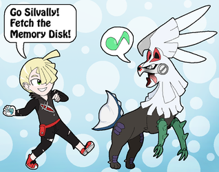 Gladion and Silvally Play Fetch by Rotommowtom