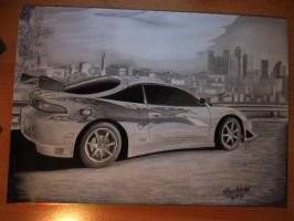 Mitsubishi Eclipse Fast Furious Car Drawing by MaxBechtold