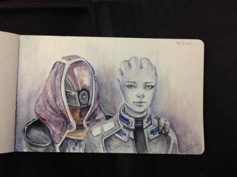Day 4 - Liara and Tali by Anhyra