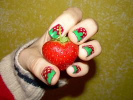 Strawberry held by strawberries by FredBeans