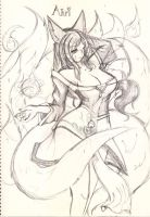Ahri sketch 4 by Rayforce557