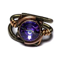 Steampunk Jewelry -RING- Heliotrope Purple Crystal by CatherinetteRings