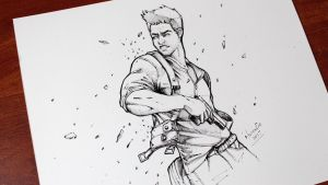Nathan-Drake-Uncharted ink by MiltonCesar
