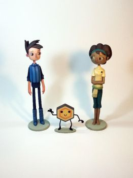 Shay, Vella and Hexipal. Broken Age figures. 2016 by ddpatron