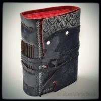 The Black Traveler Leather Journal, 5 x 4 inches by alexlibris999