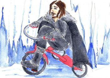 Jon Snow riding a tricycle. by CuriousOh