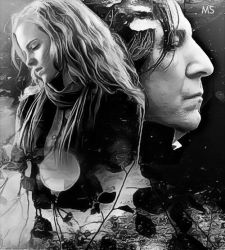 Severus and Hermione. This history never ends B/W by MarySeverus