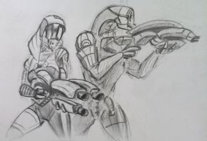 sketches Tali/Legion (3) by spaceMAXmarine