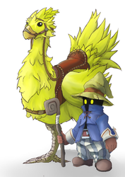 FF9: Vivi with a Chocobo by Vidolus