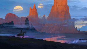 Desert with two moons by Raphael-Lacoste