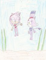 PC: Amy and Blaze underwater by mastergamer20