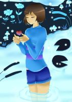 Alone time in waterfall____Undertale___Frisk by Idiel02