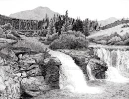Lundbreck Falls by xpegger